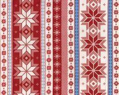 """Baumwollflanell """"Nordica"""", Norweger-Muster mit Sternen, gedecktes rot-mittelblau-wollweiß"""