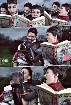 Dragon Age: Inquisition cosplay - Dorian catches Cassandra reading Varric's romance novel // This is great!!