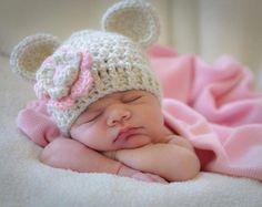 Sombrero del ganchillo bebé sombrero de niña niña. Crochet