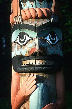 Nuu-chah-nulth Totem Pole, Pacific Rim, West Coast Vancouver Island, British…