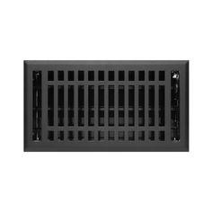 "Contemporary Steel Floor Register - Black 6"" x 10"" (7-1/4"" x 11"" Overall)"