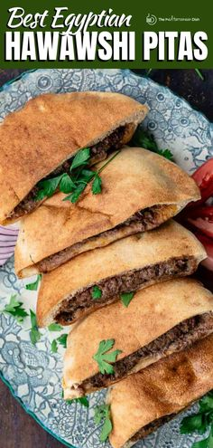 Best recipe and step-by-step tutorial for Egyptian hawawshi! Crispy pita sandwiches stuffed with a tantalizing meat mixture, seasoned with a warm spice mixture, onions, peppers, and fresh herbs. Think of it as Egypt's answer to a hambuger but on steriods! Mediterranean Dishes, Mediterranean Diet Recipes, Healthy Comfort Food, Healthy Eating, Side Dish Recipes, Dinner Recipes, Veal Recipes, Vegetarian Recipes Easy, Healthy Recipes