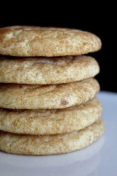 Snicker doodles: 2 3/4 c.flour 2 tsp. cream of tartar 1 tsp. baking soda 1/4 tsp. salt 1/4 tsp. cinnamon 1 1/2 c. granulated sugar 1/2 c. butter, room temperature 1/2 c. shortening  1/2 tsp. vanilla 2 large eggs 3 tbsp. milk 3 tbsp. granulated sugar 3 tsp. cinnamon Preheat oven to 375 degrees. Bake for 8-10 minutes, rotating the sheet half way through the baking process.