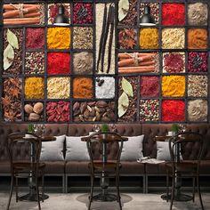 Spices Wallpaper Mural for Restaurant Cafe Bar (㎡) Custom Wallpaper, Of Wallpaper, Photo Wallpaper, Lounges, Motifs Aztèques, Exotic Art, Cute House, Restaurant Interior Design, Cottage Interiors