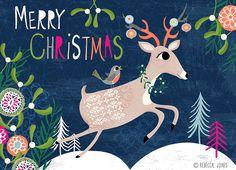 Illustration by rebecca jones Christmas Town, Christmas Deer, Little Christmas, Winter Christmas, Merry Christmas, Christmas Poster, Christmas Quotes, Illustration Noel, Winter Illustration