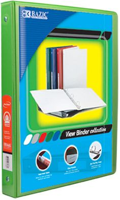 "BAZIC 1/2"""" Lime Green 3-Ring View Binder w/ 2-Pockets Case Pack 12"