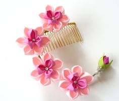 Kanzashi Fabric Flower hair comb . Pink hair comb. Pink by JuLVa, $33.00