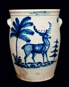 "Rare and Important Six-Gallon Stoneware Jar with Elaborate Cobalt Deer Scene, Stamped ""JOHN BURGER / ROCHESTER,"" circa 1860"