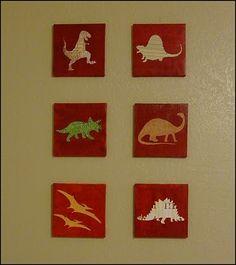 DIY Dinosaur Art on Dollar Store Canvas and Craft Paper