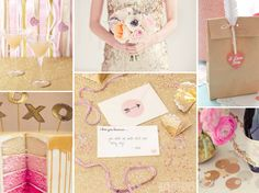 Pink and gold wedding inspiration board