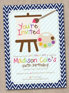 Art Painting Party Printable Birthday Party Invitation
