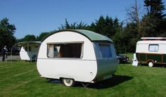 Tiny vintage caravan with big window