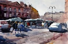 Saturday market day in Cirencester, watercolor by Tim Wilmot