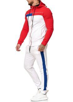 Zoum TrackSuit Sweatpant Hoodie Sweater Jacket - Red X0027B - FASH STOP Mens Sweat Suits, Mens Tracksuit Set, Sport Shirt Design, Retro Sweatshirts, Boys Clothes Style, Track Suit Men, Cool Jackets, Suit Fashion, Sports Shirts