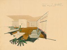 Sala de estar da residência Luiz Stringari, no bairro do Butantã, São Paulo (1956). A casa, da qual Mendes da Rocha projeta a decoração dos interiores, faz parte do loteamento Butantã, da Cia. City