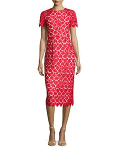 Short-Sleeve+Leaf+Lace+Cocktail+Dress,+Red+by+Shoshanna+at+Neiman+Marcus.