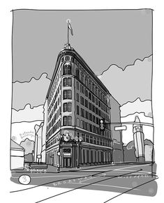 Flatiron building, Oakland, b w version drawn by Doug Wittnebel Building Illustration, Illustration Styles, Building Drawing, Watercolor Architecture, Flatiron Building, Trippy Wallpaper, Oakland California, Cartoon Sketches, Work Inspiration