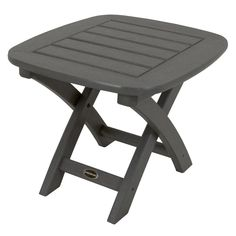 POLYWOOD Nautical 21 in. x 18 in. Slate Grey Patio Side Table