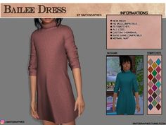 The Sims 4 Bailee Dress Sims 4 Game Mods, Sims Mods, My Sims, Sims Cc, Sims 4 Cc Kids Clothing, Children Clothing, The Sims 4 Bebes, Sims Stories, The Sims 4 Packs