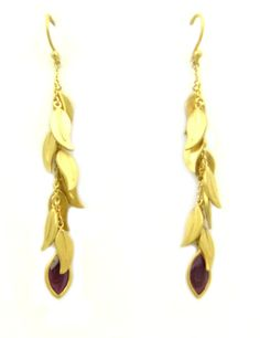 Willow Leaf Cluster and Ruby Earrings-Gold Plated Willow leaves create movement, The ruby stone adds glamour. Willow Leaf, Ruby Stone, Ruby Earrings, Blog Images, Rainbow Colors, Gold Necklace, Bible, Collections, Leaves