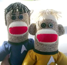 Captain Kirk and Mr. Spock Sock Monkeys by DeedleDeeCreations