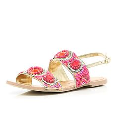 Pink tribal beaded sandals - flat sandals - shoes / boots - women
