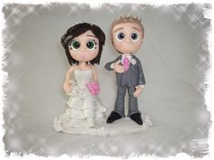 Personalised wedding cake toppers, created from polymer clay SPECIAL OFFER £45.00 on our facebook page -https://www.facebook.com/boogiebabys #cheapweddingcaketoppers #kentweddingcaketoppers #caketoppersinkent