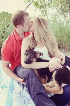 Engagement pictures with German shepherd puppy