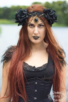 Morgana Black Rose and Black Lace and Bead Wreath by NebulaXcrafts