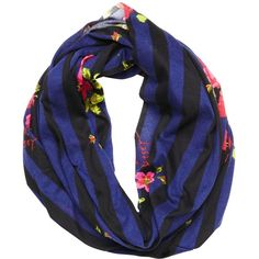 Betsey Johnson Stripe Rose Infinity Scarf ($30) ❤ liked on Polyvore featuring accessories, scarves, hats and scarves, navy, infinity scarf shawl, print infinity scarf, infinity loop scarf, tube scarf and loop scarf