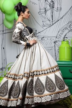 """Long sleeve, full, long skirt, white with black embellishments and design.  Beautiful. """"For the love of Anarkali"""""""