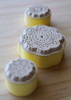 could use these to make mini doilies...liquid clay Cool lacey stamps at Etsy store 'karaku', $9