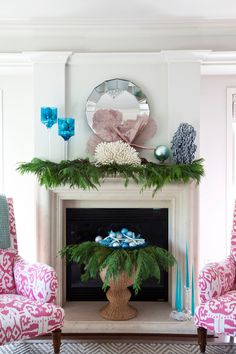 Designed by @Emily Ruddo. Photographed by Meghan Beierle-O'Brien. Coastal christmas mantle. #holiday #ornaments #mantle #fireplace