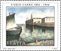 Emesso il 7 settembre 1981 200 L. - Fondamenta nuove, dipinto di Carlo Carrà