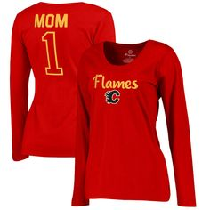 Calgary Flames Fanatics Branded Women's Plus Sizes Number 1 Mom Long Sleeve T-Shirt - Red