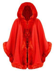 CELEBRITY WARM WINTER HOODED WRAP PONCHO FAUX FUR LADIES LUSH CAPE MANTLE COAT | eBay