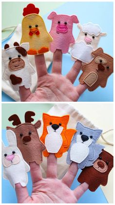 wodland and farm finger puppets - Nutztiere Felt Puppets, Felt Finger Puppets, Finger Puppet Patterns, Quiet Book Templates, Felt Patterns, Animal Patterns, Felt Quiet Books, Operation Christmas Child, Montessori Toys