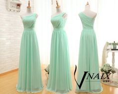 Mint Green Prom Dress Elegant Formal One Shoulde Zipper Up Back Long Chiffon Mint Green Bridesmaid Dress Mint Green Long Dress by VnaixBridal on Etsy https://www.etsy.com/listing/212673158/mint-green-prom-dress-elegant-formal-one