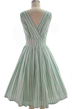 pinup style surplice sun dress - mint & white stripe