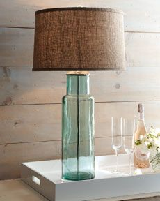 Beach house lamp with seaglass base