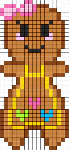 Gingerbread Girl Perler Bead Pattern / Bead Sprite