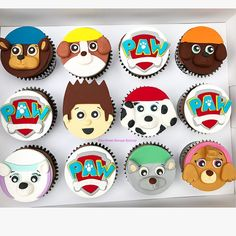 Paw Patrol were on a Roll Paw Patrol Cupcake Toppers, Paw Patrol Cupcakes, Paw Patrol Birthday Cake, Kid Cupcakes, Animal Cupcakes, First Birthday Party Decorations, 3rd Birthday Cakes, Birthday Cupcakes, 2nd Birthday Parties