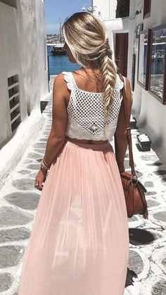 Crochet top & blush skirt.