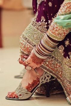 Wedding shoes are one of the must have item on bridal's shopping list hence in this post I have rounded up with best bridal shoes 2017 for girls to get inspirational ideas to buy a great pair of wedding shoes to spend wedding day lavishly. Best Bridal Shoes, Bridal Sandals, Indian Bridal Outfits, Pakistani Bridal Wear, Wedding Shoes Bride, Wedding Bridesmaids, Wedding Stuff, Wedding Ideas, Designer Bridal Lehenga