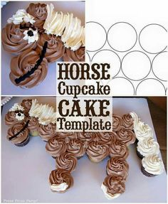 Horse cupcake cake template. Learn how to make this amazing and easy horse cupcake cake with a printable template. Great for a western birthday. Cowboy birthday. Cowgirl birthday. - by Press Print Party!