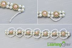 make the third part of the handmade pink and white pearl bracelet