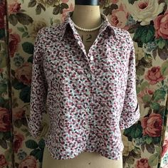 UK SIZE 14 WOMENS HOBBS LINEN MIX SHIRT PINKS GREY SPOTS #Hobbs #ClassicCroppedFitted #Casual