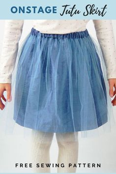 Onstage Tutu Skirt FREE sewing pattern. It's a very quick and easy-to-make tutu skirt that is great for parties and special occasions, but it's equally appropriate for everyday wear. This simple and fast project goes together with a minimum of seams. And if your little darling is still at that age where she loves dolls then the designer has made sure that the instructions for the doll skirt are included in the regular instructions. Skirt Patterns Sewing, Sewing Patterns For Kids, Sewing For Kids, Free Sewing, Skirt Sewing, Knit Skirt, Ruffle Skirt, Free Pattern Download, Sewing Material