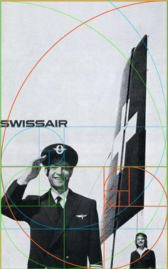 vintage advertising   SwissAir (golden section layout) Brockmann