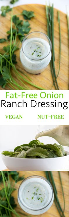 This vegan, onion-based fat-free ranch dressing doesn't have the over-the-top richness of dairy ranch, but it's tangy and flavorful and just creamy enough.